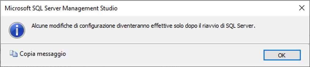 Occorre riavviare SQL Server